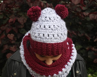 Double pompom Burgundy hat, Crochet Pompom hat, Chunky hat, Crochet hat, Bobble hat, Chunky beanie, Warm winter hat, Unique gift, Hat