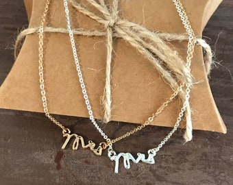 DAINTY Gold or Silver Plated MRS Necklace <3