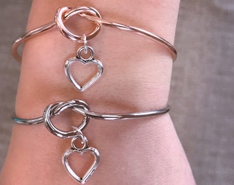 Rose Gold or Silver Plated TYING THE KNOT Bangle