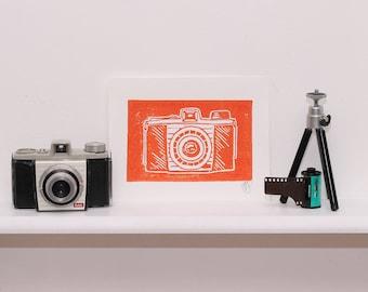 Camera - Orange lino cut print (A5)