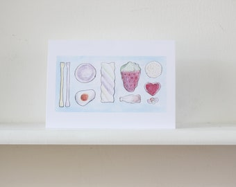 Sweets galore A5 greetings card, digital print from original lino print, blank card and envelope