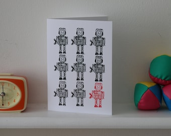 Robot 'Odd one out' A5 greetings card, digital print from original lino print, blank card and envelope