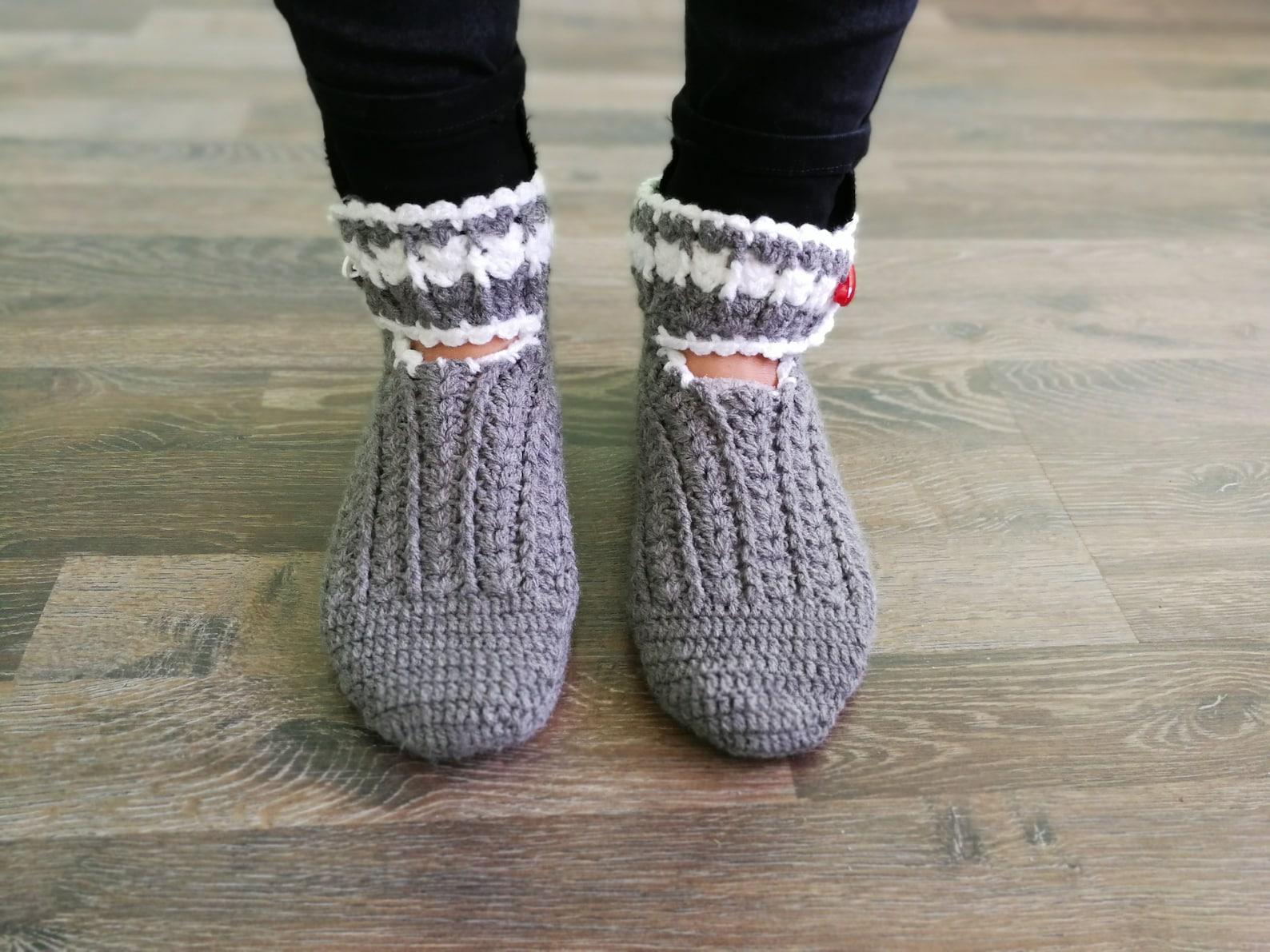 gray slippers, women slippers, chunky slippers, yoga socks, handmade home shoes, crochet, knit slippers, gift wrapped, ballet fl