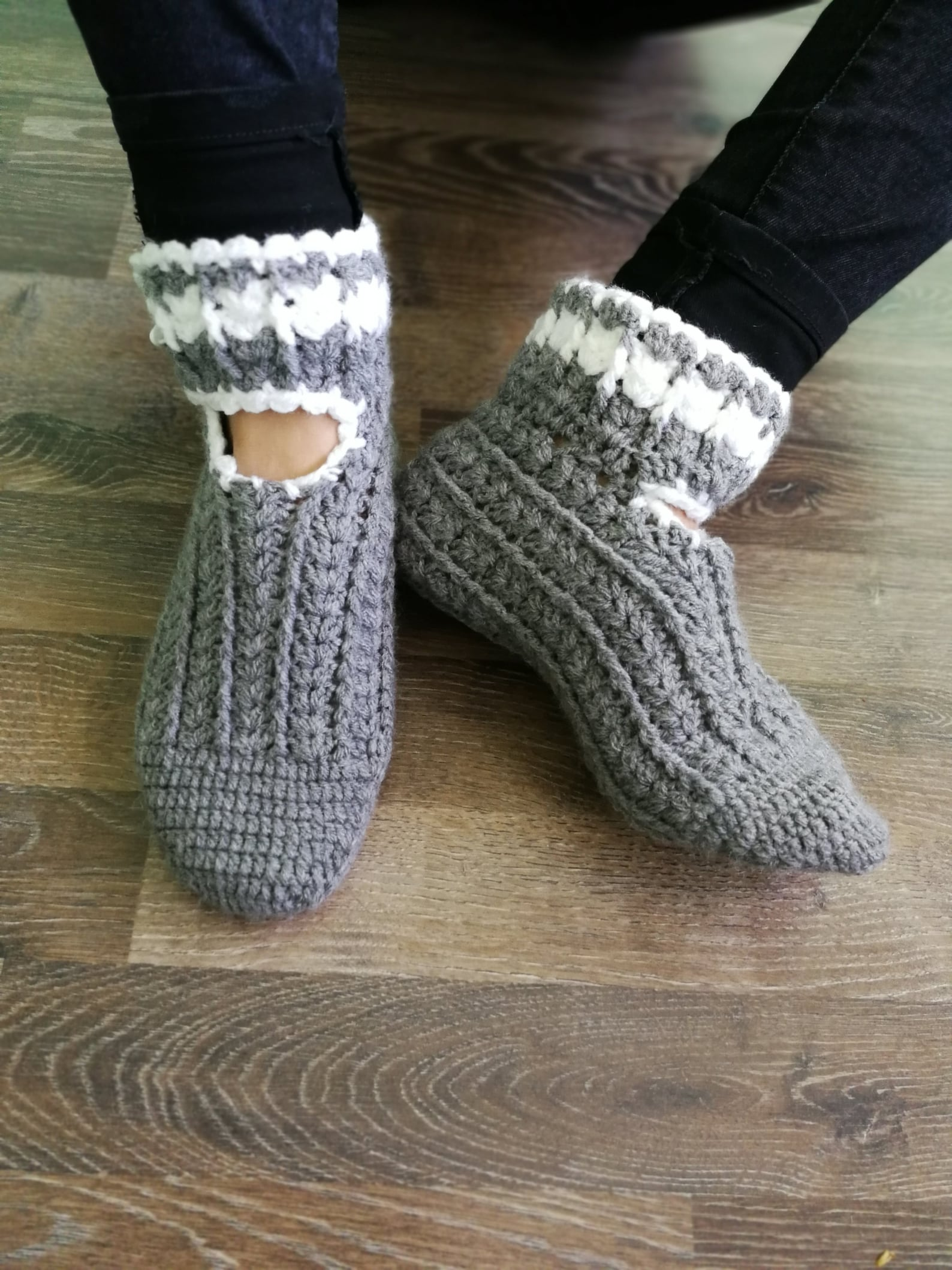 gray slippers, women slippers, chunky slippers, yoga socks, handmade home shoes, crochet, knit slippers, gift wrapped, ballet fl