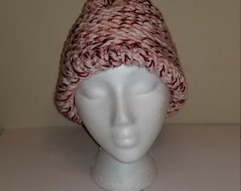 6e400628617 Womens Unisex Knitted Multicolored Beanie Hat Winter Cap Pink White Red  black Artsy Boho Chic Glam Brim Handmade Design Cotton Blend Warm