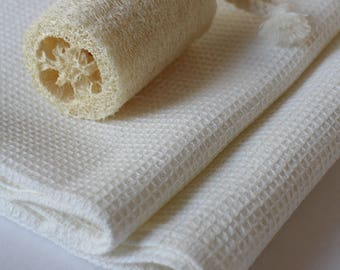 Milky white 100% linen waffle face, hand and bath towels, pure linen towels, linen bath towels, white bath towels