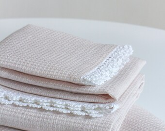 Pure linen pink waffle face, hand and bath towels with handmade lace trim. Pure linen towels. Lightweight linen towels. Housewarming gift.