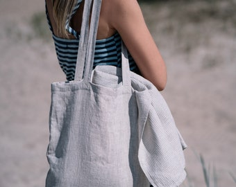 Linen tote bag. Reusable linen bag. Linen beach bag. Linen shopping bag.