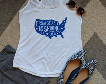 4th of July Shirt/ Patriotic Shirt/From sea to shining sea shirt
