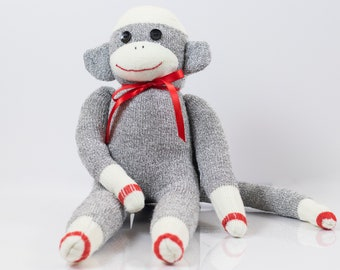 Handmade Sock Monkey, Gray with button eyes
