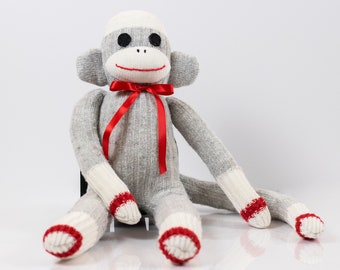 Handmade Sock Monkey, Gray with felt eyes