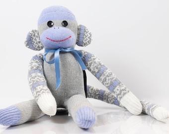 Handmade Sock Monkey, blue