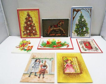 mixed lot of vintage christmas cards 8 unused cards 1950s 1970s holiday cards - Artistic Holiday Cards