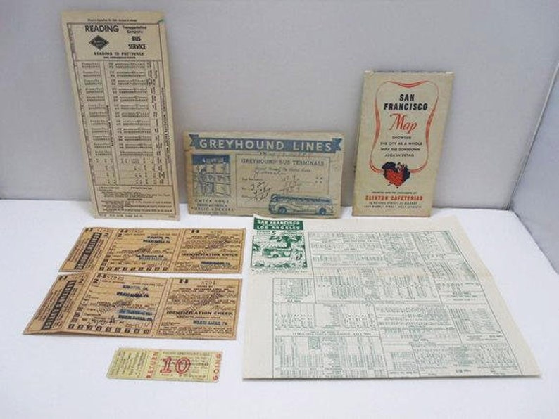 Lot Of Greyhound Bus Ephemera / Vintage Ephemera / 1945 Bus Tickets / San  Francisco Bus Schedule