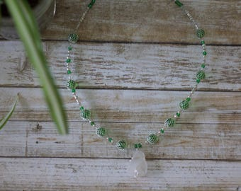 Wire Wrapped Necklace White and Green Seaglass
