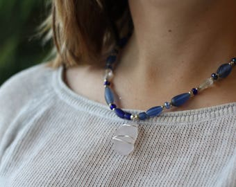 Wire Wrapped Necklace Seaglass