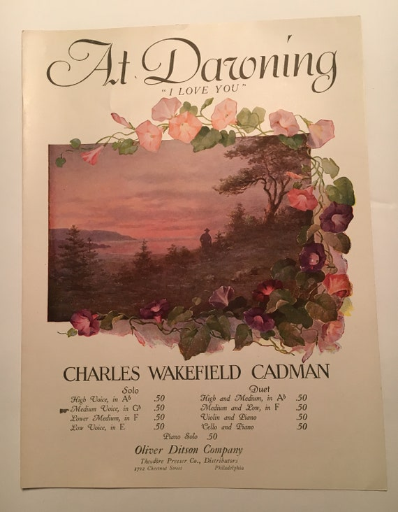 Vintage Sheet Music AT DAWNING I LOVE YOU CHARLES WAKEFIELD CADMAN