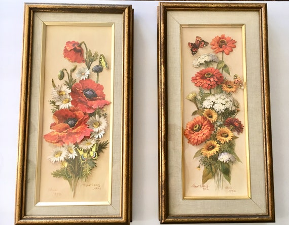 Robert Laessig Framed 3 D Floral Pictures Poppies And Etsy