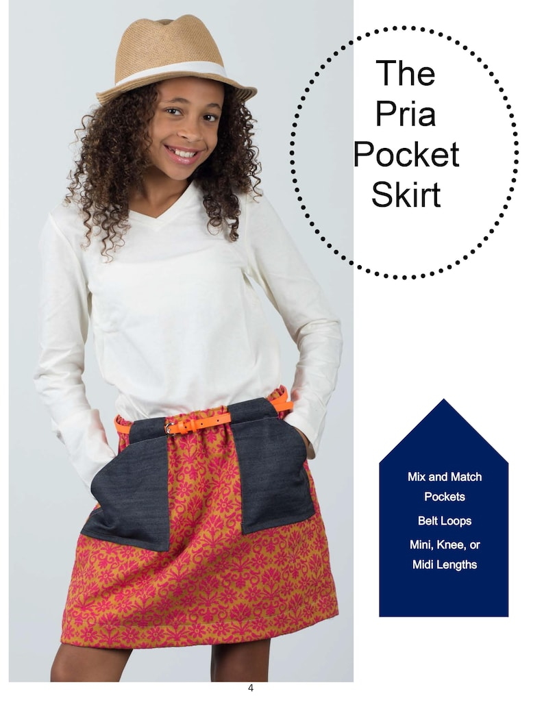 The Pria Pocket Skirt, a Simple, A-line Skirt with Fun Patch Pocket and  Belt Loops