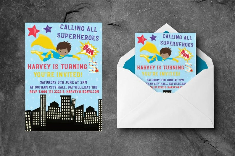 Download and print file only Boys Superhero birthday party invitations Fully personalised.