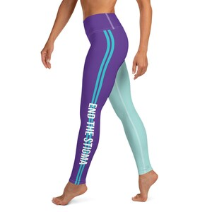 Suicide Awareness Spats End The Stigma Splatter Womens BJJ Jiu-Jitsu Suicide Prevention Athletic Leggings Jiu Jitsu Purple Teal Splat Spats