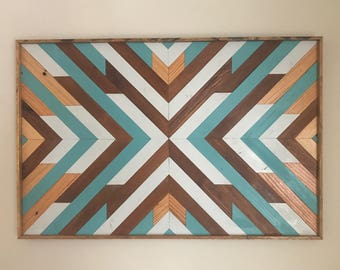 Reclaimed Wood Wall Art - Rustic Geometric - Large Wood Wall Art - Geometric Wood Wall Art - Reclaimed Wood Wall Art