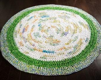 Circular Rag Rug in Green, White and Multicolour