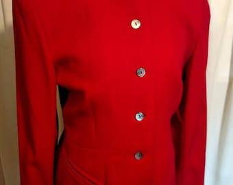 Vintage 1980's Premonville et Dewavrin Jacket in red wool gabardine made in Paris