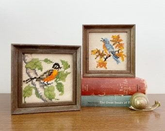 Vintage Mini Crewel Embroidery Bird Illustrations - Set of Two