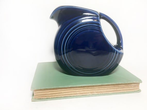 Vintage Early Fiesta Ware Deep Blue Pitcher Etsy