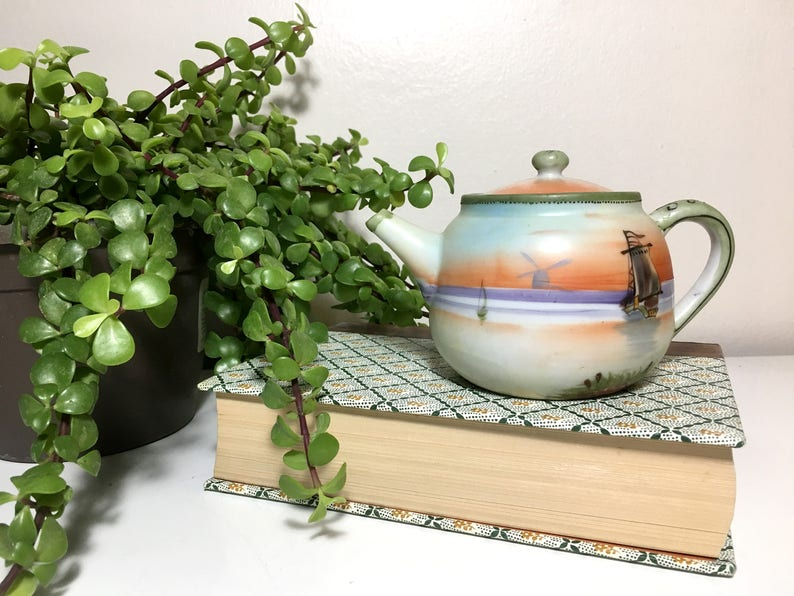 Vintage Handpainted Ceramic Ships in Sunset Teapot