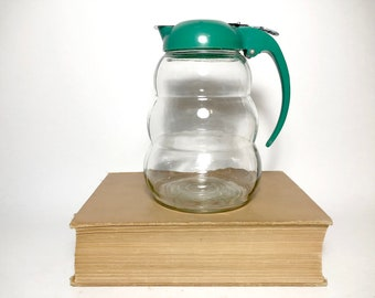 Vintage Green Top Glass Syrup Pitcher