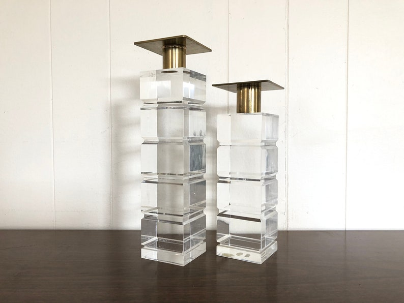 Vintage Mid Century Modern Dolbi Cashier Lucite and Brass Candlestick Holders
