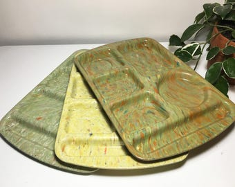 Vintage Set of Three Prolon Ware Confetti Galaxy Cafeteria Trays