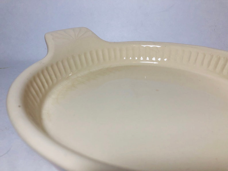 Vintage McCoy USA Pottery Pink and Blue Striped Pie Dish