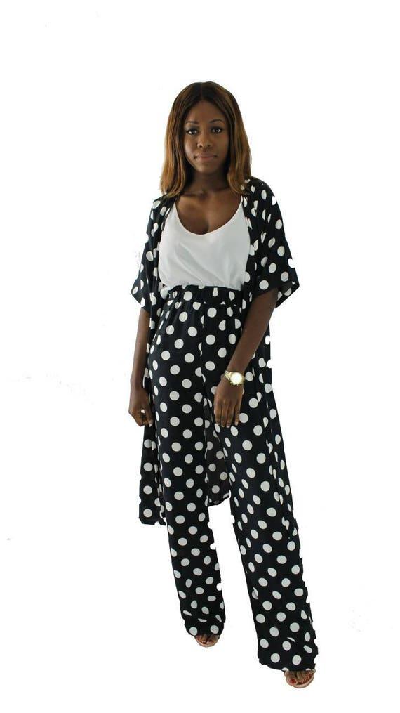 Jess Polka Dot Black & White Women's Kimono Trouser Pant Suit
