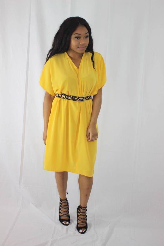 Bibi Yellow Slouch Draped Dress