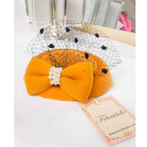 Mustard Yellow Felt Pillbox Fascinator Hat