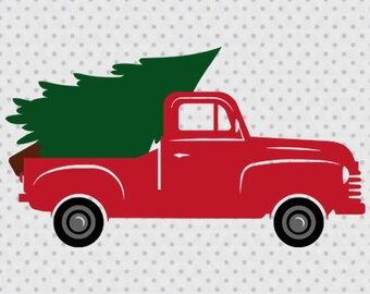 christmas truck svg vintage truck svg old pickup truck svg truck svg pickup truck svg christmas tree svg pine tree svg