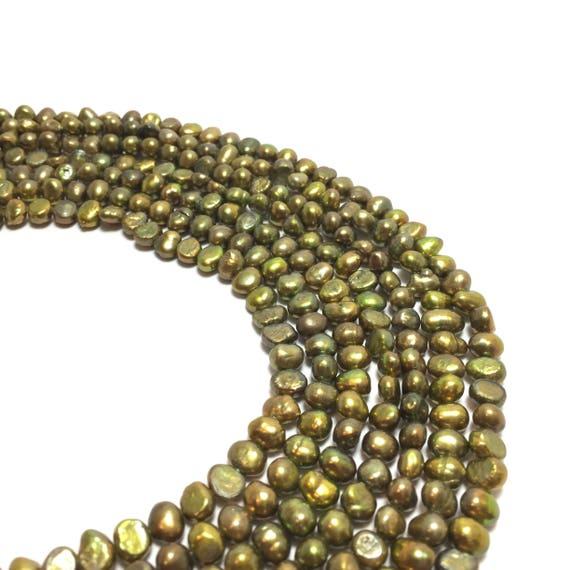 """16/"""" Strand Light Olive Green Freshwater Pearl Off Round Beads 5.5mm-6mm"""