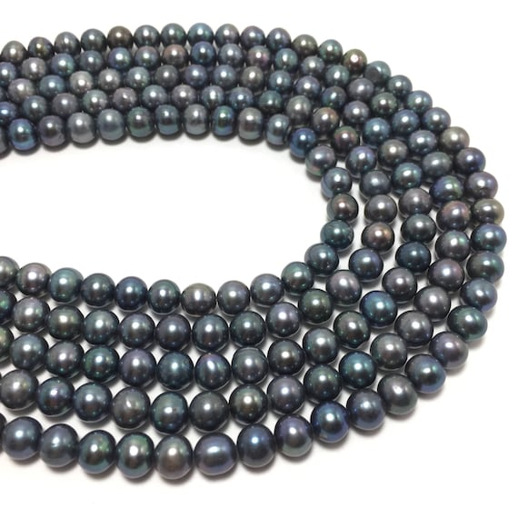 """16/"""" Strand 8mm EXCEPTIONAL Natural Navy Blue /& Bronze Peacock FRESHWATER PEARLS"""