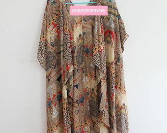 Long Kimono with Feather Print
