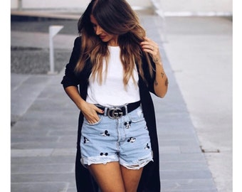 Mickey Embroidered High Waisted Denim Shorts