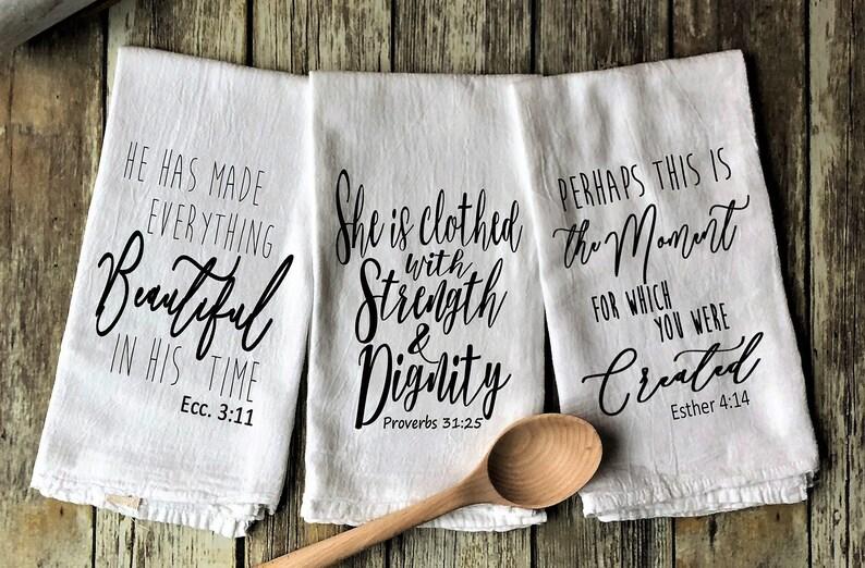 Woman of God Inspired Flour Sack Tea Towels  Screen Printed image 0