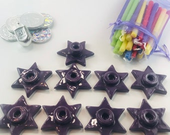 Chanukah Bucket with Star of David Purple Glaze Ceramic Menorah