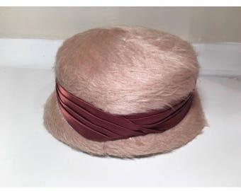 Vintage Pink Fuzzy Cloche Hat