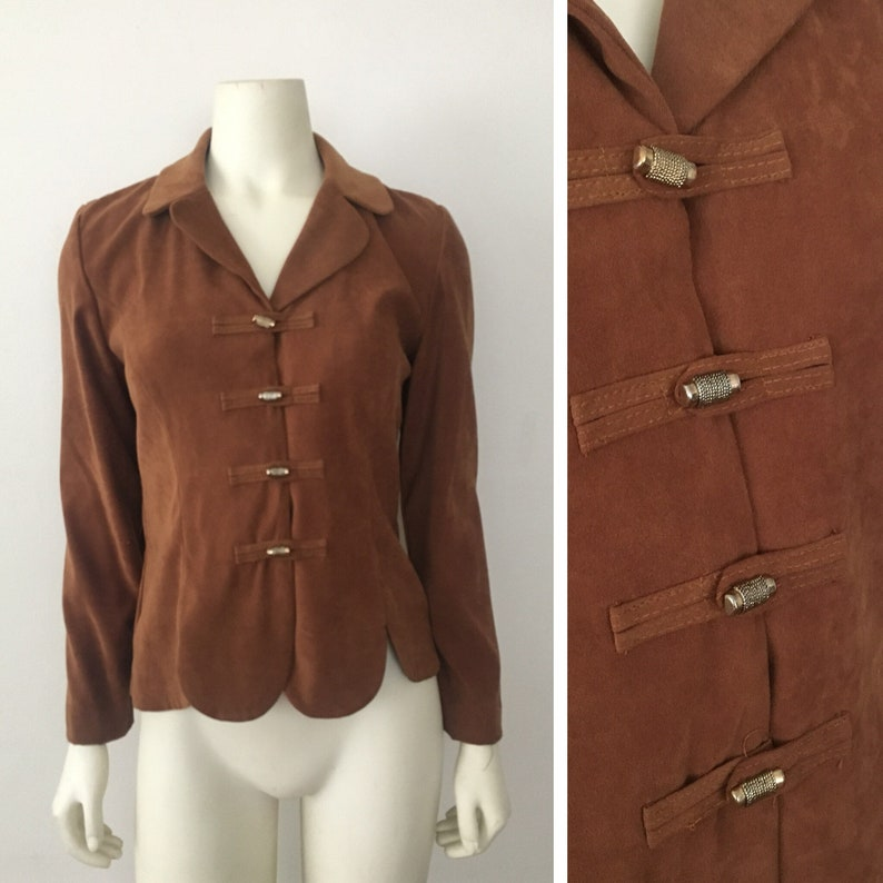 on sale 6914b d5dfe Womens Leslie Fay Blazer Jacket - Brown Suede Polyester - Button Up Size  Small (6)