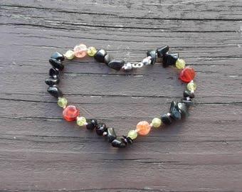 Roses - Obsidian bracelet - Peridot bracelet