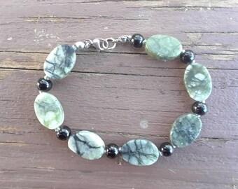 Serpentine Bracelet - Obsidian bracelet