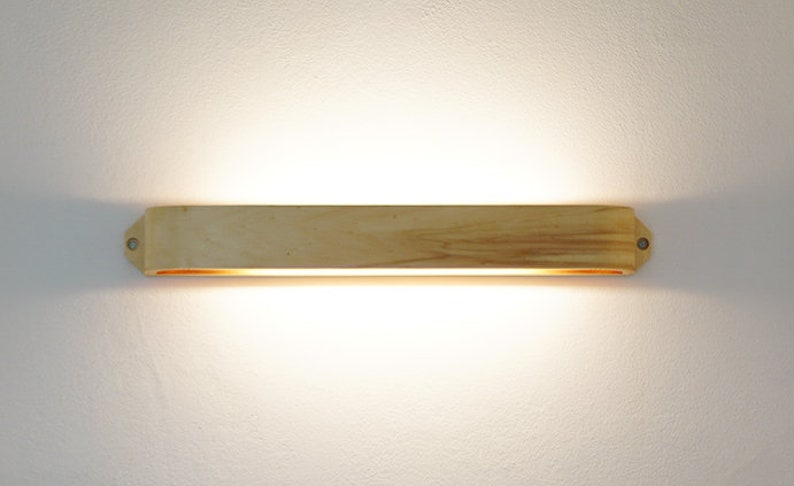 Handmade wooden wall lamp. minimal style. etsy